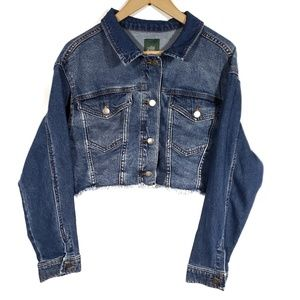 Wild Fable Cropped Cut Off Dark Wash Jean Jacket